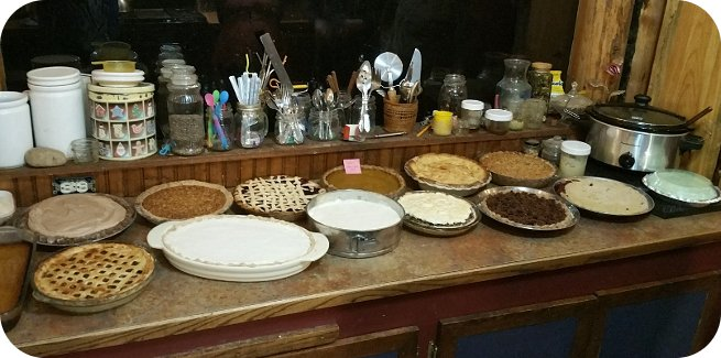 counter full of pies