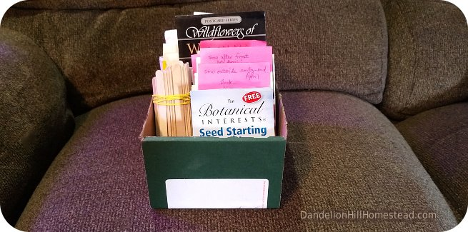 seeds packages organized in a box