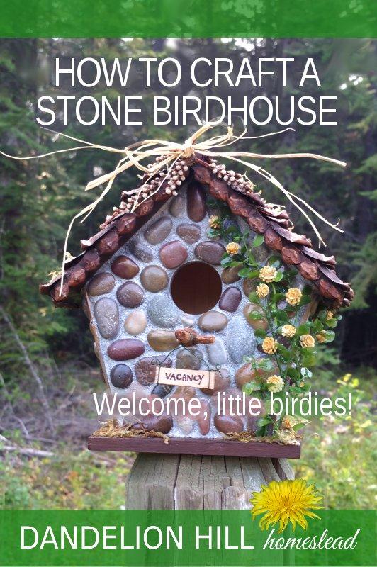 Pinterest image for stone birdhouse