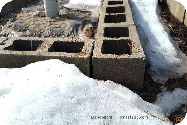 concrete bricks in snow